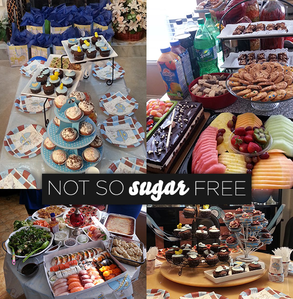 This was all the deliciousness we had to endure through our last sugar free challenge. It was a girlfriend's baby shower so of course we cheated but we did 100 burpees, 200 double-unders and 300 squats (in order and no breaks) to make up for it.