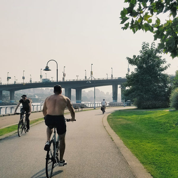 Cycling on the Yaletown Sea Wall